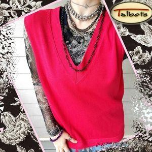 Talbots Vtg Oversized Raspberry Vneck Sweater Vest